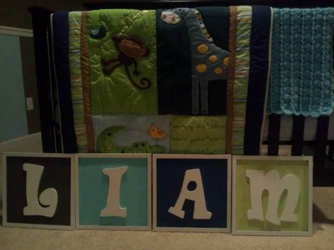 Liam's room theme - I matched his name letter frames to the color scheme in his bedding. Love!